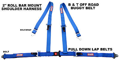 Off Road 4 Point Seat Belt Race Harness Pull Down Lap Belts Roll Bar Mount Blue
