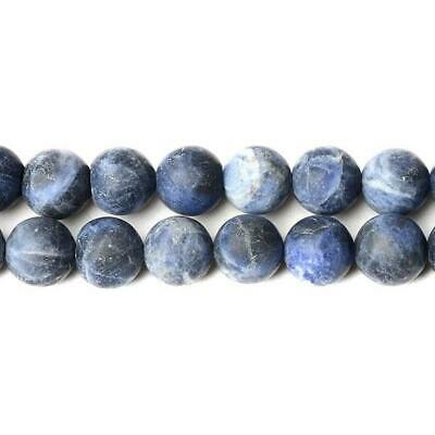 Sodalite Round Beads 10mm Blue 35+ Pcs Frosted  Gemstones DIY Jewellery Making