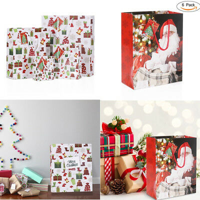 Heavy-duty Different SIZE Pack of 6 Christmas Gift Xmas Present Bags w/ Gift Tag