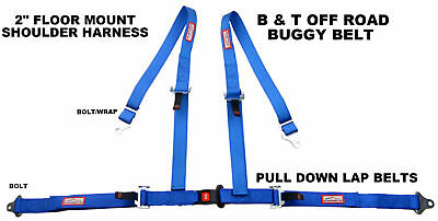 Racerdirect Off Road Buggy Belt 4 Point Bolt In Floor Mount Blue