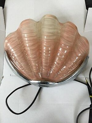 Art Deco Clam Shell Odeon Wall Light Chrome/pink