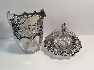 Vintage Crystal Glass Silver Plated Pitcher ,Candy Dish