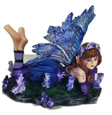 Young Purple and Blue Fairy Lying On Stomach in Garden with Open Wings Figurine