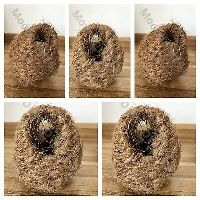 5x Finch Coco & Wicker Nesting Box Nest With Hooks Back Finches Canary 11x10x9