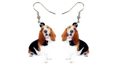 """Basset Hound Dog 1"""" Drop Dangle Acrylic Earrings Very Light Weight Gift Boxed"""