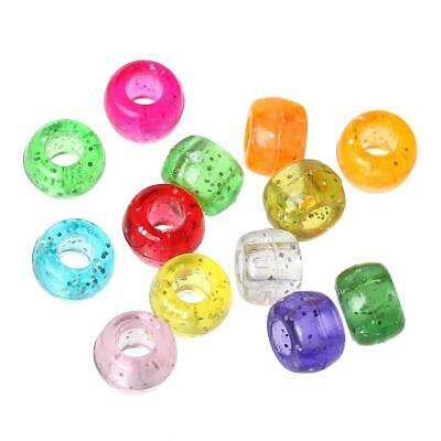 Packet 100+ Mixed Acrylic 9 x 6mm Large Hole Beads Y12290