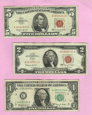 1963 Set $5 $2 Red Legal Tender Bills + $1 Federal Reserve Note Old US Currency