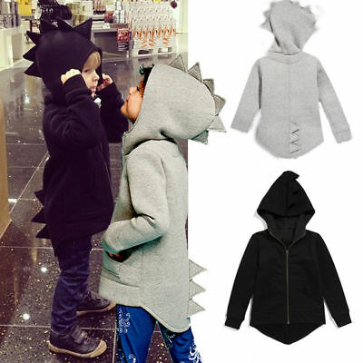 Kids Baby Boys Dinosaur Hoodie Coat Jacket Sweatshirt Tops Zip Up Casual Hooded