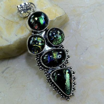 """Beautiful Fancy Dichroic Glass Sterling Silver Pendant 3 1/4"""" Free Shipping"""