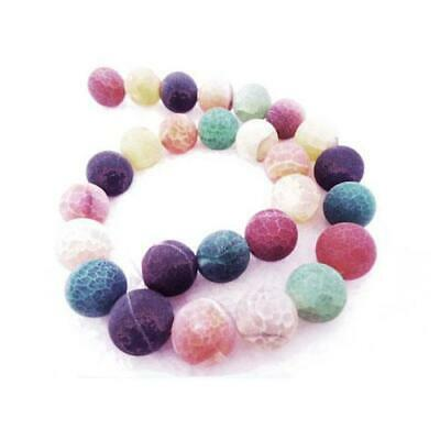 Frosted Cracked Agate Round Beads 8mm Mixed 8 Pcs Gemstones DIY Jewellery Making