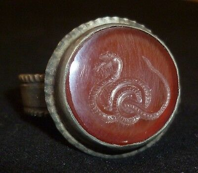 ROMAN Silver RING with Red Stone Gem - Depict SNAKE - Circa 200-300 AD      /507