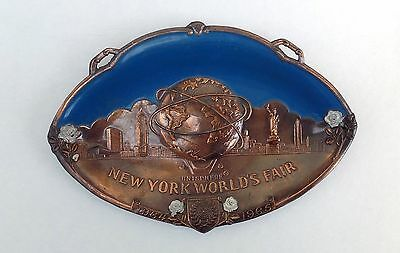 1964 1965 New York World's Fair Steel Enamel Unisphere Plate Made In Japan