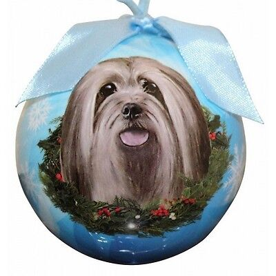 Lhasa Apso Shatterproof Ball Dog Christmas Ornament