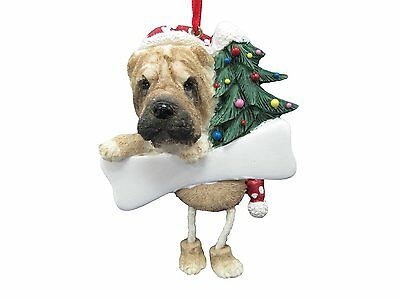 Shar Pei Dangling Wobbly Leg Dog Bone Christmas Ornament