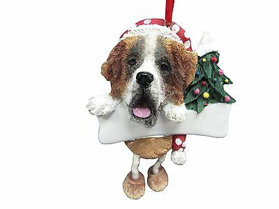 Saint Bernard Dangling Wobbly Leg Dog Bone Christmas Ornament