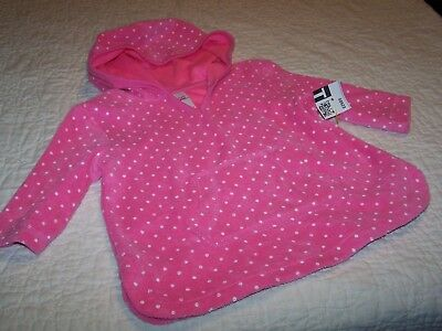 12 Months~Swimsuit Cover-Up~Pink Dot Terry Cloth~Hooded~3/4 Sleeve~Circo~NWOT