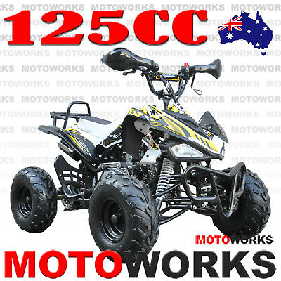 MOTOWORKS SPORTS 125CC ATV QUAD Bike Dirt 4 Wheeler Buggy trail pit yellow