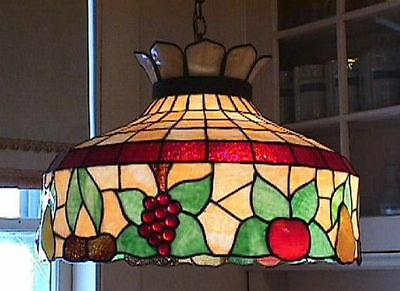 Original 1920s Arts & Crafts Antique Fruit Stained Slag Glass Chandelier