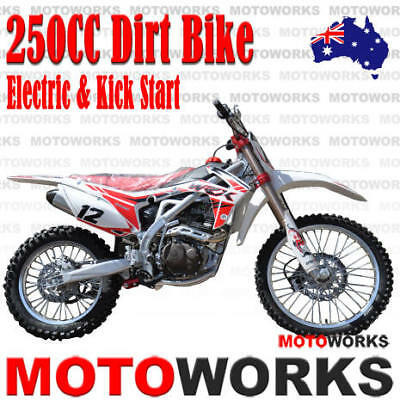 MOTOWORKS 250cc BIGFOOT MOTOR TRAIL DIRT PIT PRO 2 wheels MOTORCROSS BIKE white