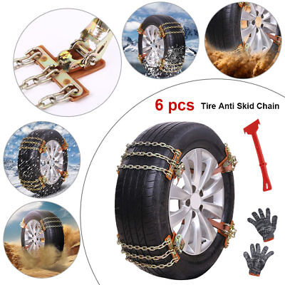 6pc Car SUV Snow Anti-Skid Tire Chains Winter Emergency Driving 215-285mm Tires