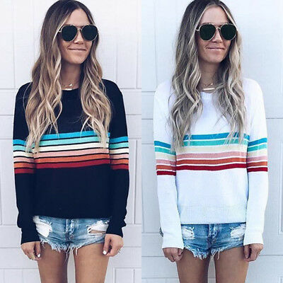 Women Long Sleeve Loose O Neck Rainbow Stripe Blouse Casual Top Pullover T-shirt