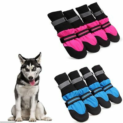 4Pcs/1Set Large Pet Dog Mesh Boots Waterproof Protective Anti-slip Shoes S-XXL