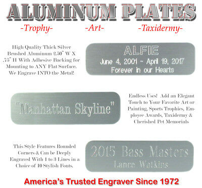 "3/4"" X 2 1/2"" Custom Engraved Aluminum ID Name Plates Art Trophy Taxidermy Gifts"