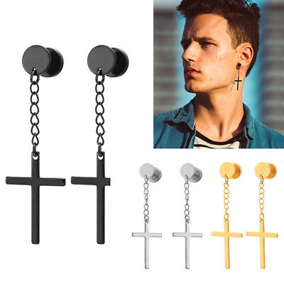 Mens Womens Fashion  Cross Dangle Hoop Huggie Stainless Steel Ear Stud Earrings
