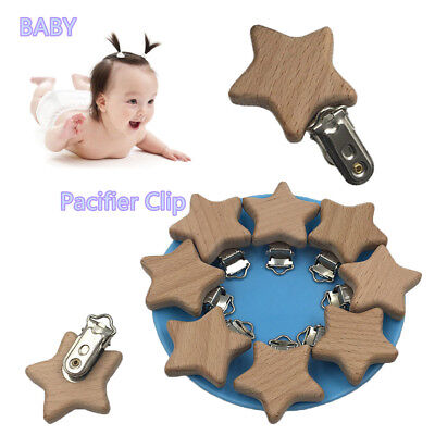 Infant Natural Color Dummy Holder Beech Wood  Pacifier Clip DIY Pacifier Chain