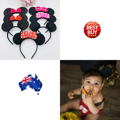 MICKEY MINNIE MOUSE EARS HEADBAND COSTUME Bow Fancy Dress