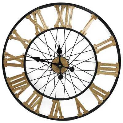 Stylish 58cm Large Metal Wall Clock with Wooden Roman Numeral Home Bedroom Decor