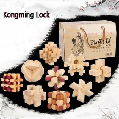 Kongming/Luban Lock Chinese Wooden Brain Teaser Educational Child Adult Toy 9pcs