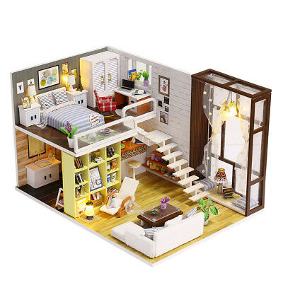 DIY Dollhouse Miniature Loft Apartments Wooden Furniture LED Kits Christmas Gift