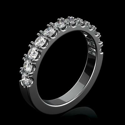 1 Ct Round Natural Diamond Eternity Wedding Band Fine Ring 18K White Gold