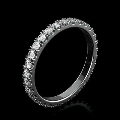 1 Ct Round Cut Natural Diamond Eternity Wedding Band Fine Ring 18K White Gold