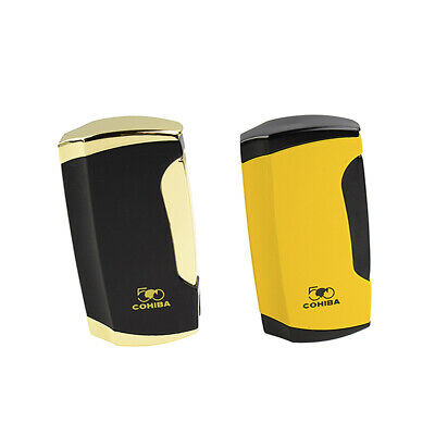COHIBA Portable Cigar Lighter Double Jet Flame Butane Gas Lighter With Punch
