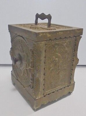 Piggy Bank Money Box Antique Strongbox J&f Sleven Co Safe U.s.a. 1897