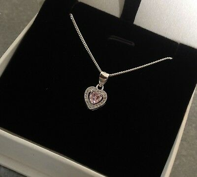 925 Sterling Silver Pink Heart Necklace or Pendant Gift Present