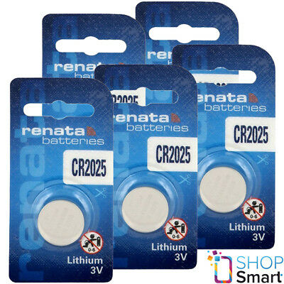 5 Renata Cr2025 Lithium Batteries 3V Cell Coin Button Dl2025 Exp 2024 New