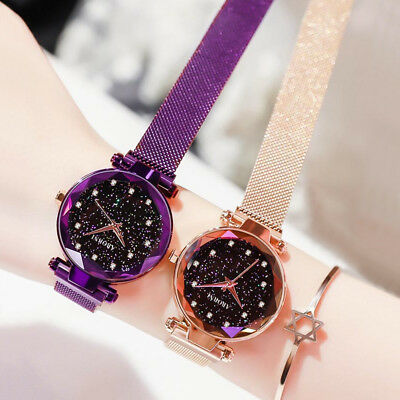 Starry Sky Diamond Dial Magnet Strap Buckle Stainless Luxury Bracelet Watch Girl