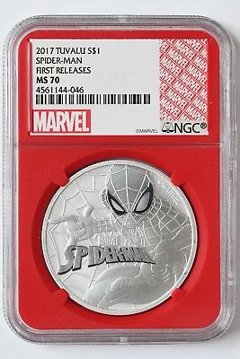 2017 Tuvalu Spider-Man 1 oz Silver Marvel Series $1 NGC MS70 FR Red