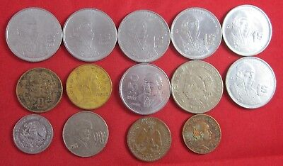 14 vintage Mexico coins, dating back to1936