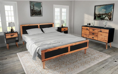 4 Pcs Retro Acacia Wood Bedroom Furniture Set Double Bed Frame Bedside Table New
