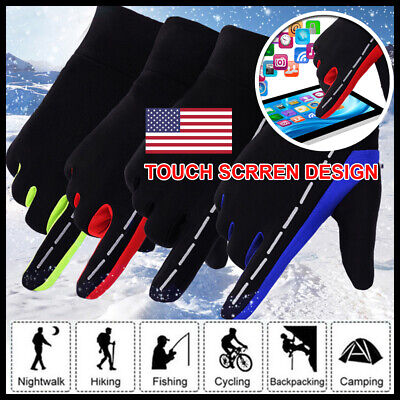 Winter Mens Warm Fleece Lined Windproof Cycling Motor Thermal Touch Screen Glove