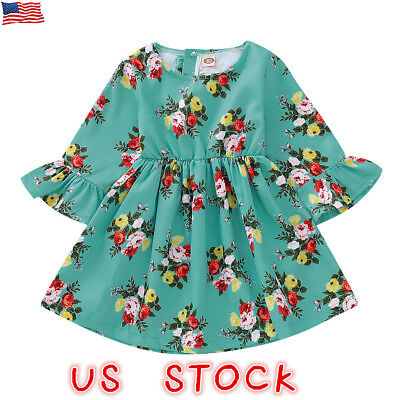 Toddler Kid Baby Girl Floral Long Sleeve Party Pageant Foraml Dress Clothes US