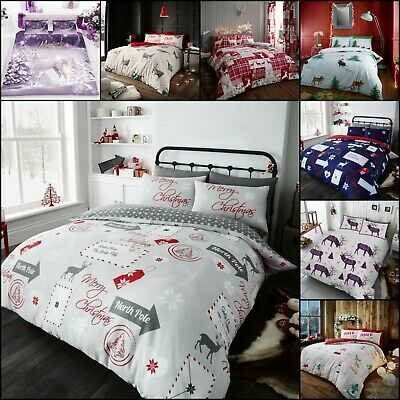New Christmas X-Mas Duvet Quilt Cover With Pillow Cases Size Single Double King