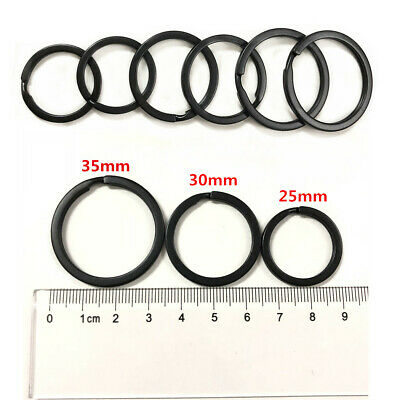25-35MM Strong Steel Split Rings Key Ring Black Metal Loop Flat Keychain Holder