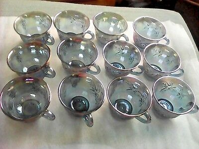 Full Set Of 12 Antique Gold Rimmed Blue Indiana Carnival Glass Cups