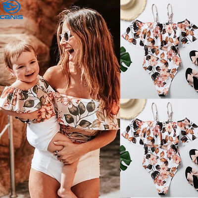 Family Matching Mother Daughter Bikini Women Kids Baby Girls One-Piece Swimsuits