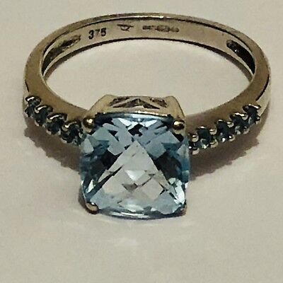 Stunning Art Deco Blue Topaz Diamond 9 Carat White Gold Solitaire Ring